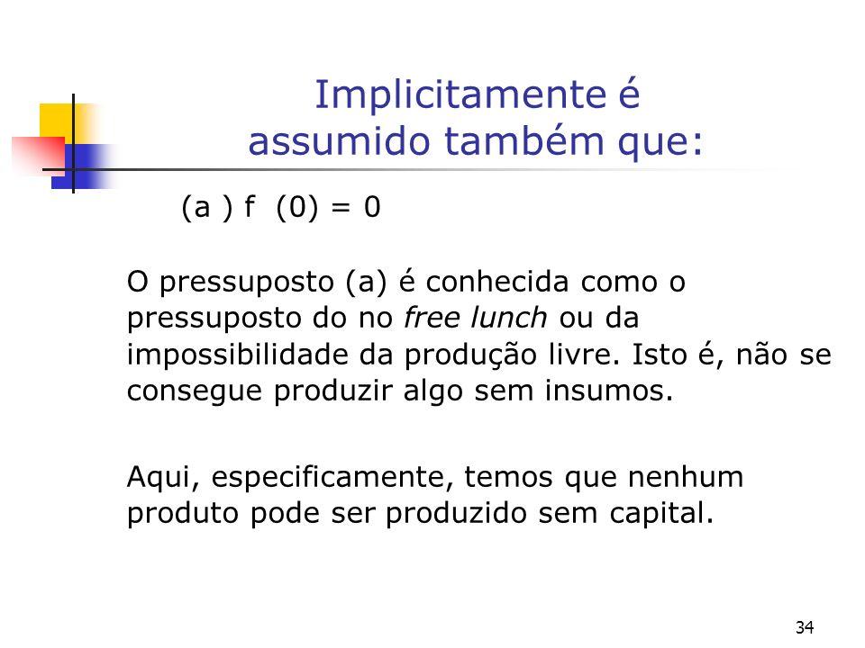 35 Os pressupostos sobre a função de produção (b) f () = O pressuposto (b) diz que um nível indefinidamente elevado da relação capital-trabalho, está relacionada a um nível indefinidamente alto do produto por trabalhador.