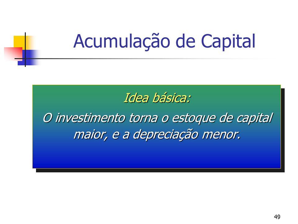 49 Acumulação de Capital Idea básica: O investimento torna o estoque de capital maior, e a depreciação menor. Idea básica: O investimento torna o esto