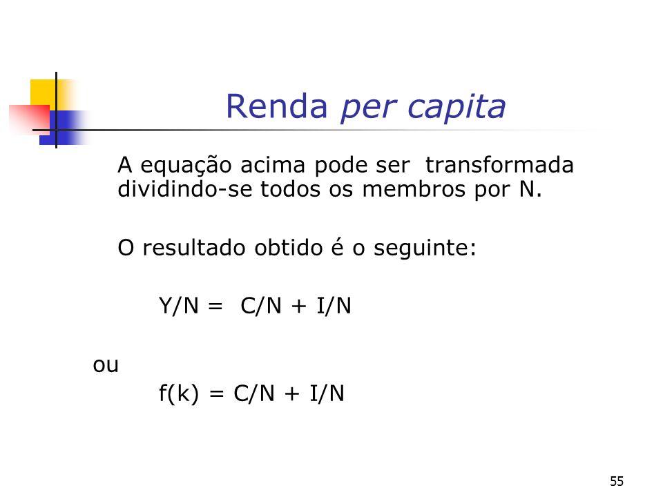 55 Renda per capita A equação acima pode ser transformada dividindo-se todos os membros por N. O resultado obtido é o seguinte: Y/N = C/N + I/N ou f(k
