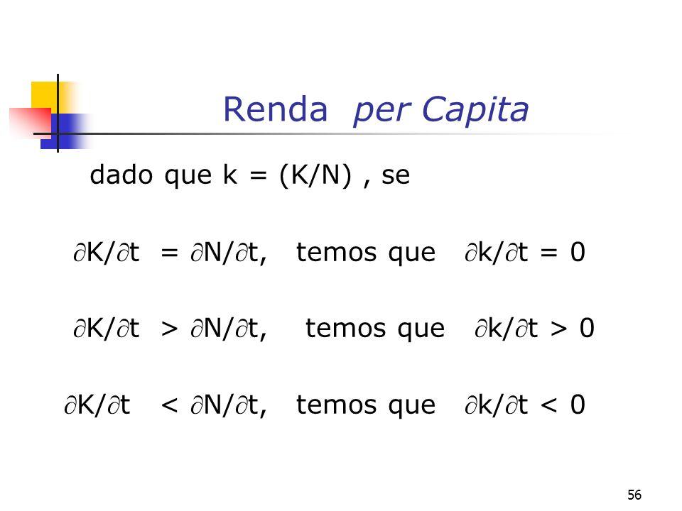 57 Renda per capita Como k/t = (K/t - N/t) e (N/t) = n, temos que: k/k = [(k/t)/k] - n Multiplicando-se ambos os lados da equação acima por k (= K/N) obtém-se: (k/t) = (k/t)/N - n(K/N)