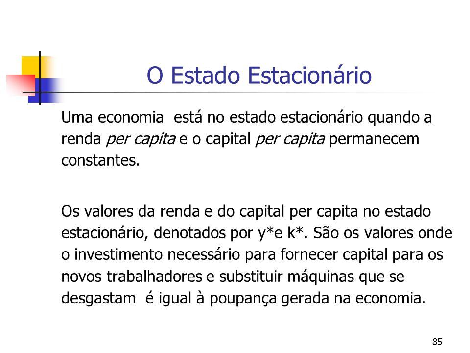 85 O Estado Estacionário Uma economia está no estado estacionário quando a renda per capita e o capital per capita permanecem constantes. Os valores d