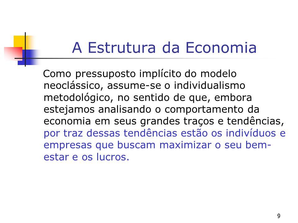9 A Estrutura da Economia Como pressuposto implícito do modelo neoclássico, assume-se o individualismo metodológico, no sentido de que, embora estejam