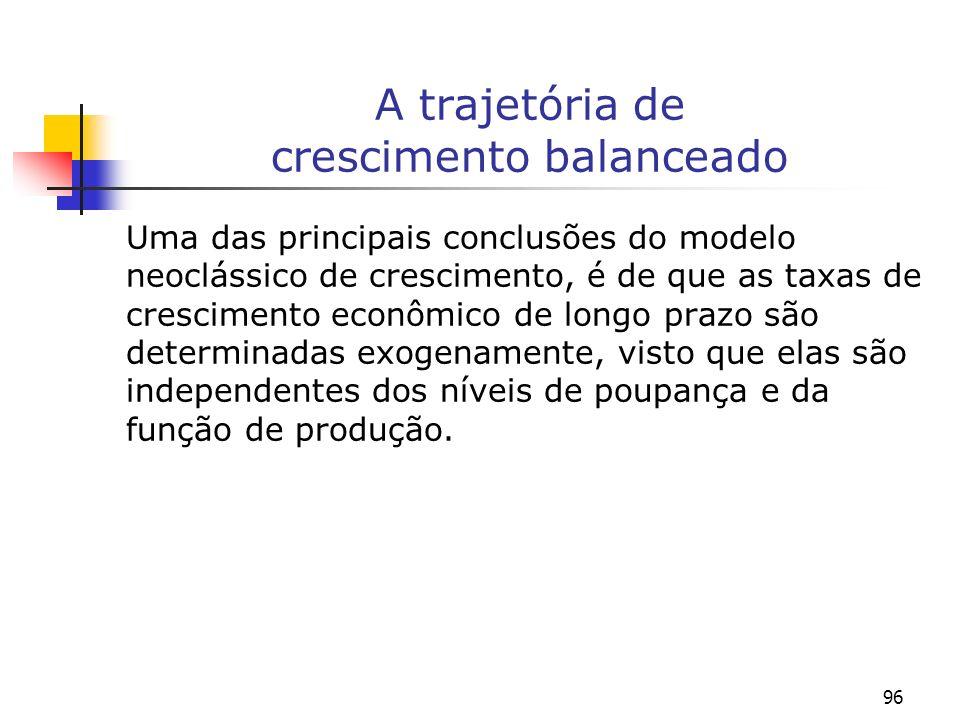 96 A trajetória de crescimento balanceado Uma das principais conclusões do modelo neoclássico de crescimento, é de que as taxas de crescimento econômi