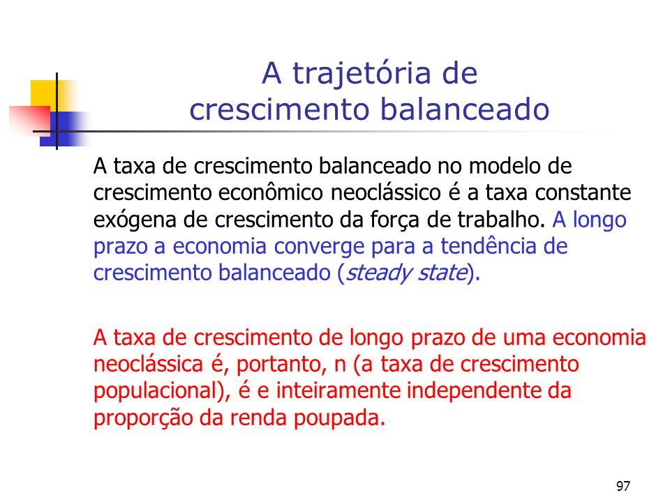 97 A trajetória de crescimento balanceado A taxa de crescimento balanceado no modelo de crescimento econômico neoclássico é a taxa constante exógena d