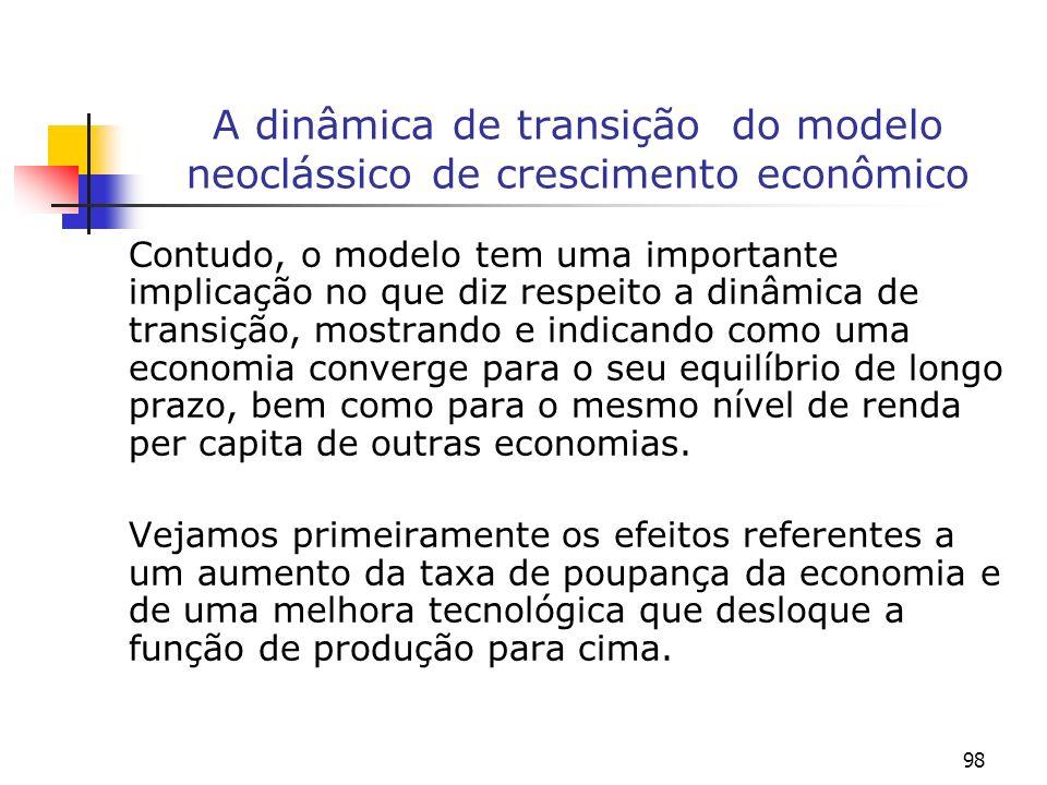98 A dinâmica de transição do modelo neoclássico de crescimento econômico Contudo, o modelo tem uma importante implicação no que diz respeito a dinâmi