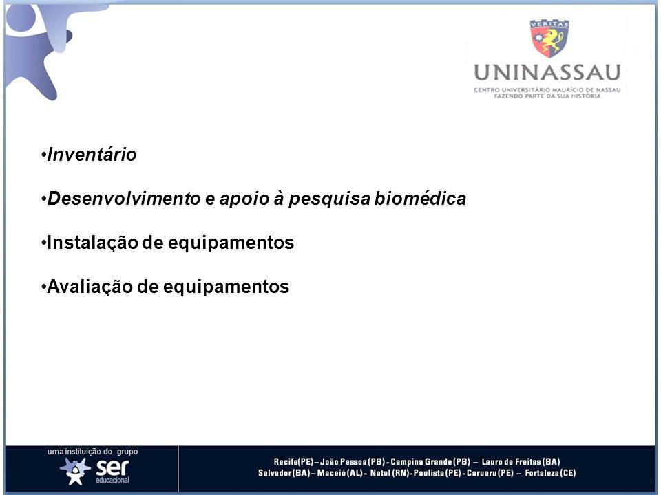 Manutenção preventiva e corretiva Controle da qualidade (calibração, aferição, adequação à legislação) Modificação e inovação Desativação