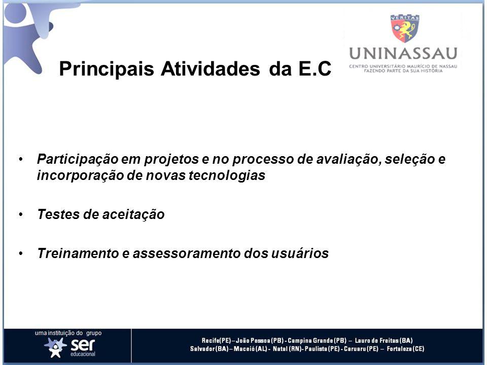 Principais Atividades da E.C Participação em projetos e no processo de avaliação, seleção e incorporação de novas tecnologias Testes de aceitação Treinamento e assessoramento dos usuários