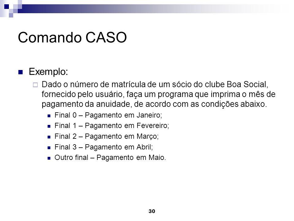 30 Comando CASO Exemplo: Dado o número de matrícula de um sócio do clube Boa Social, fornecido pelo usuário, faça um programa que imprima o mês de pag