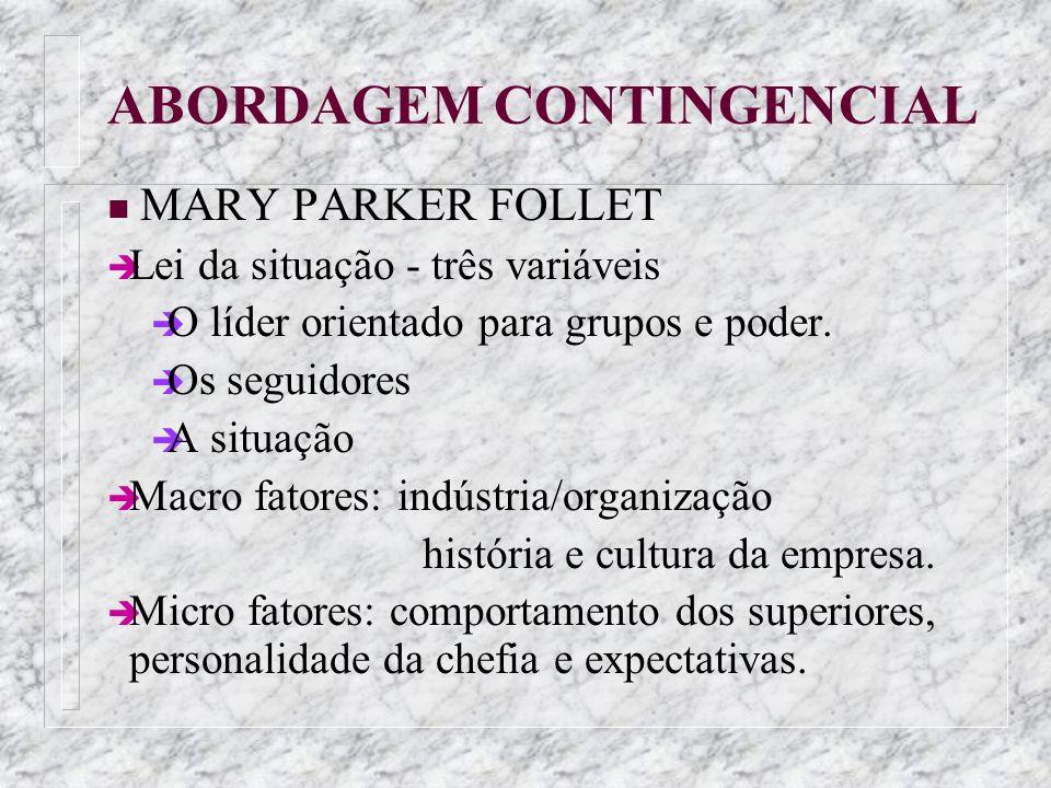 ABORDAGEM CONTINGENCIAL n MARY PARKER FOLLET è Lei da situação - três variáveis è O líder orientado para grupos e poder. è Os seguidores è A situação