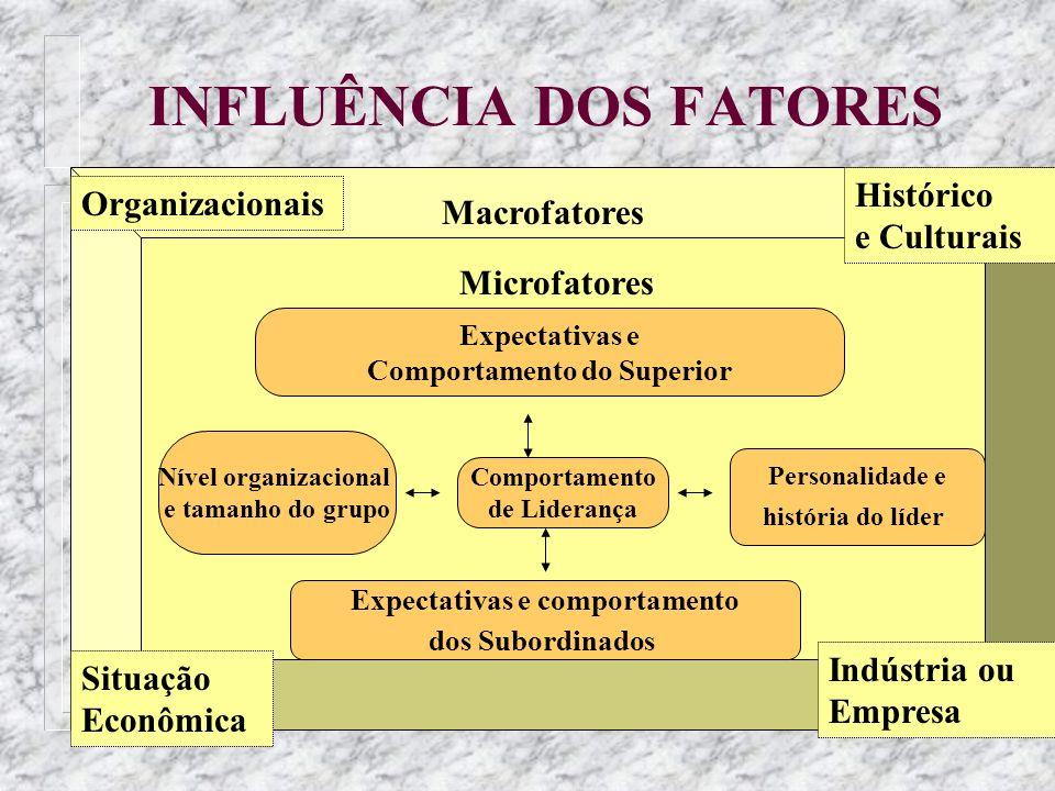 INFLUÊNCIA DOS FATORES Situação Econômica Organizacionais Macrofatores Histórico e Culturais Indústria ou Empresa Microfatores Expectativas e Comporta