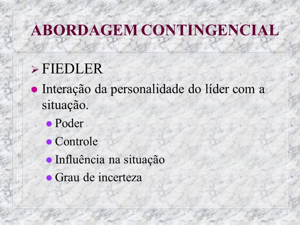 ABORDAGEM CONTINGENCIAL FIEDLER l Interação da personalidade do líder com a situação. l Poder l Controle l Influência na situação l Grau de incerteza