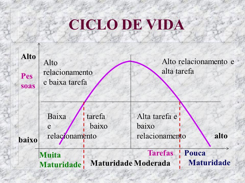 CICLO DE VIDA Pouca Maturidade Muita Maturidade Maturidade Moderada Tarefas Alto Pes soas baixo Alto relacionamento e baixa tarefa Alto relacionamento