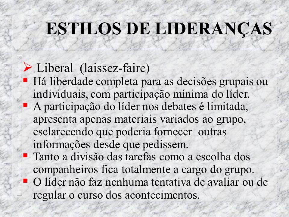 ESTILOS DE LIDERANÇAS Liberal (laissez-faire) Há liberdade completa para as decisões grupais ou individuais, com participação mínima do líder. A parti