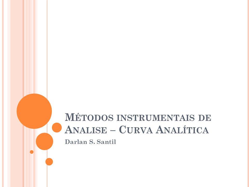 M ÉTODOS INSTRUMENTAIS DE A NALISE – C URVA A NALÍTICA Darlan S. Santil
