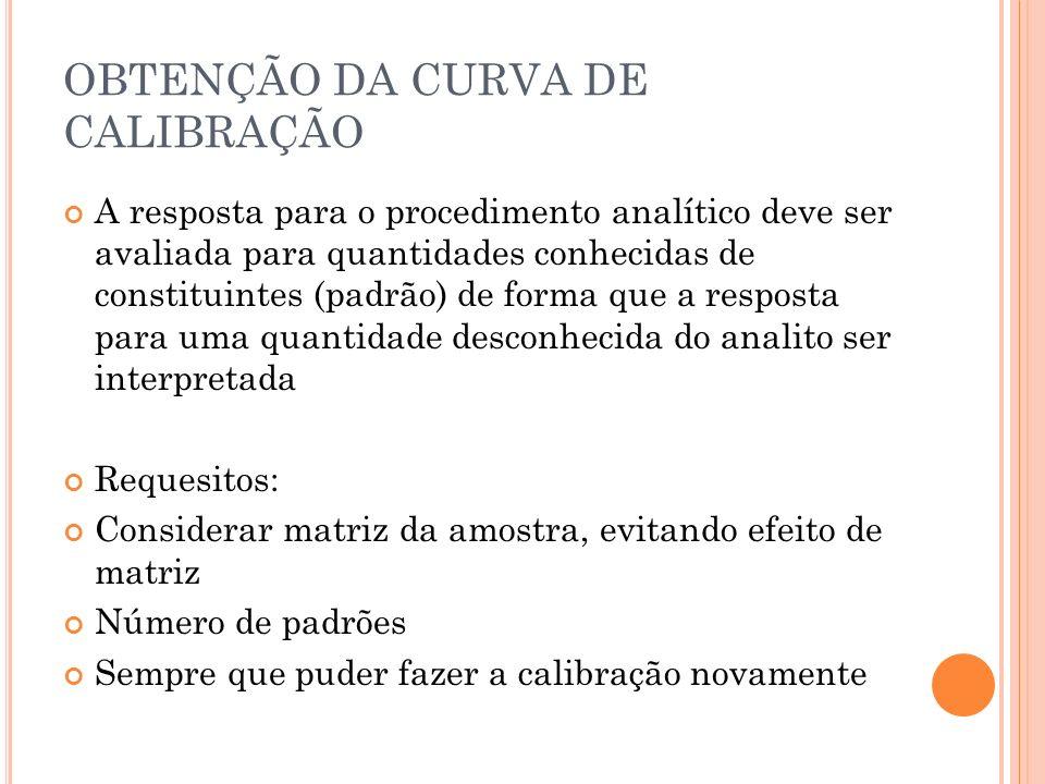 OBTENÇÃO DA CURVA DE CALIBRAÇÃO A resposta para o procedimento analítico deve ser avaliada para quantidades conhecidas de constituintes (padrão) de fo