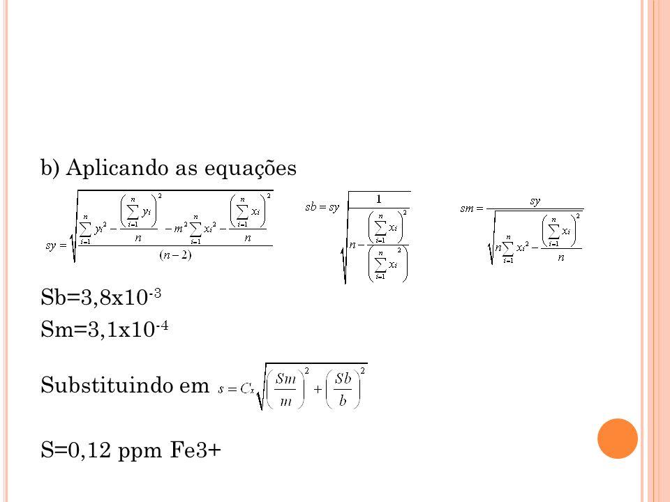 b) Aplicando as equações Sb=3,8x10 -3 Sm=3,1x10 -4 Substituindo em S=0,12 ppm Fe3+