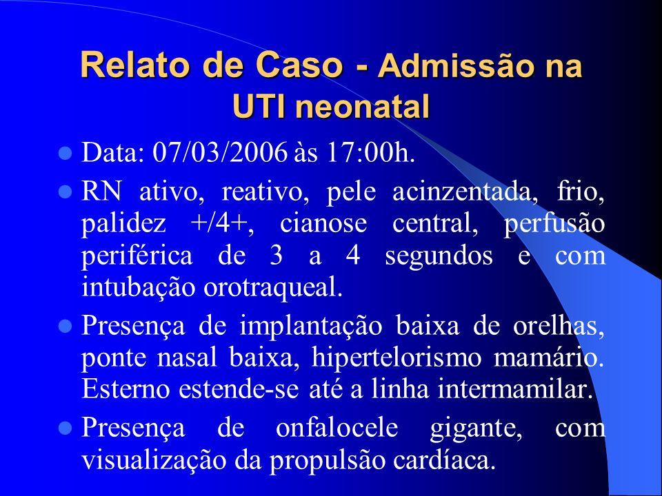 Relato de Caso - Admissão na UTI neonatal Data: 07/03/2006 às 17:00h. RN ativo, reativo, pele acinzentada, frio, palidez +/4+, cianose central, perfus