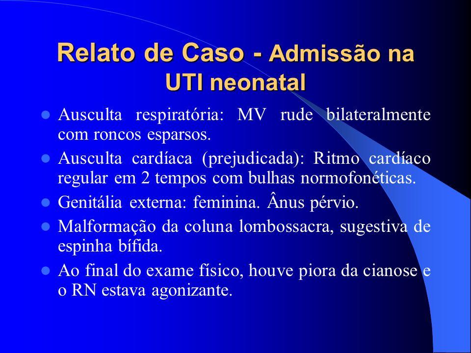 Relato de Caso - Admissão na UTI neonatal Ausculta respiratória: MV rude bilateralmente com roncos esparsos. Ausculta cardíaca (prejudicada): Ritmo ca