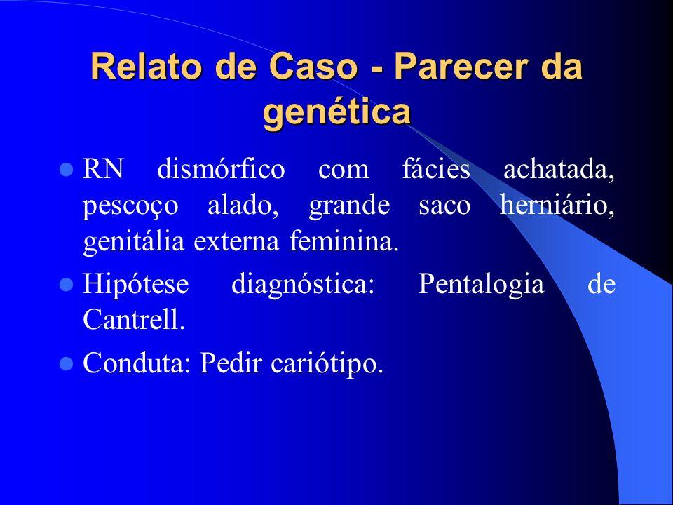 Relato de Caso - Parecer da genética RN dismórfico com fácies achatada, pescoço alado, grande saco herniário, genitália externa feminina. Hipótese dia