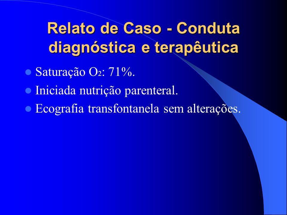 Relato de Caso - Conduta diagnóstica e terapêutica Saturação O 2 : 71%. Iniciada nutrição parenteral. Ecografia transfontanela sem alterações.