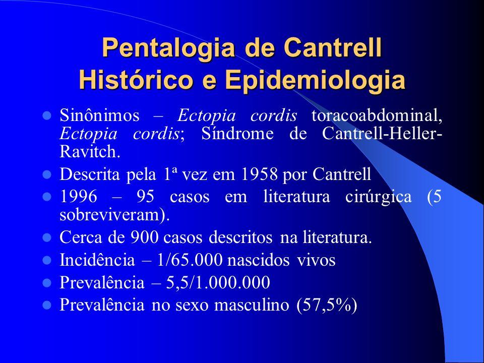 Pentalogia de Cantrell Etiologia Falha no desenvolvimento do mesoderma anterior, entre as placas esplâncnicas e parietal.