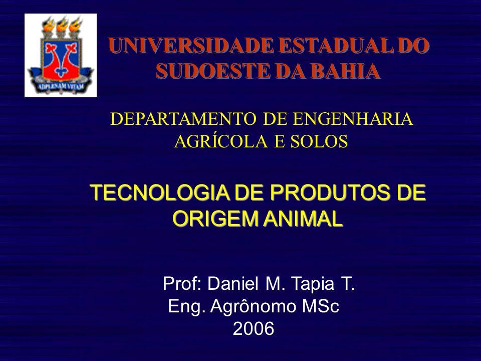 Prof: Daniel M. Tapia T. Eng. Agrônomo MSc 2006 UNIVERSIDADE ESTADUAL DO SUDOESTE DA BAHIA DEPARTAMENTO DE ENGENHARIA AGRÍCOLA E SOLOS TECNOLOGIA DE P