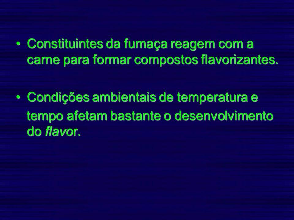 Constituintes da fumaça reagem com a carne para formar compostos flavorizantes.Constituintes da fumaça reagem com a carne para formar compostos flavor