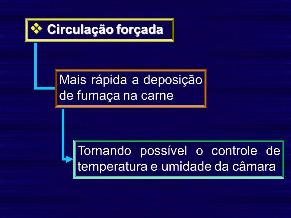 Circulação forçada Circulação forçada Mais rápida a deposição de fumaça na carne Tornando possível o controle de temperatura e umidade da câmara