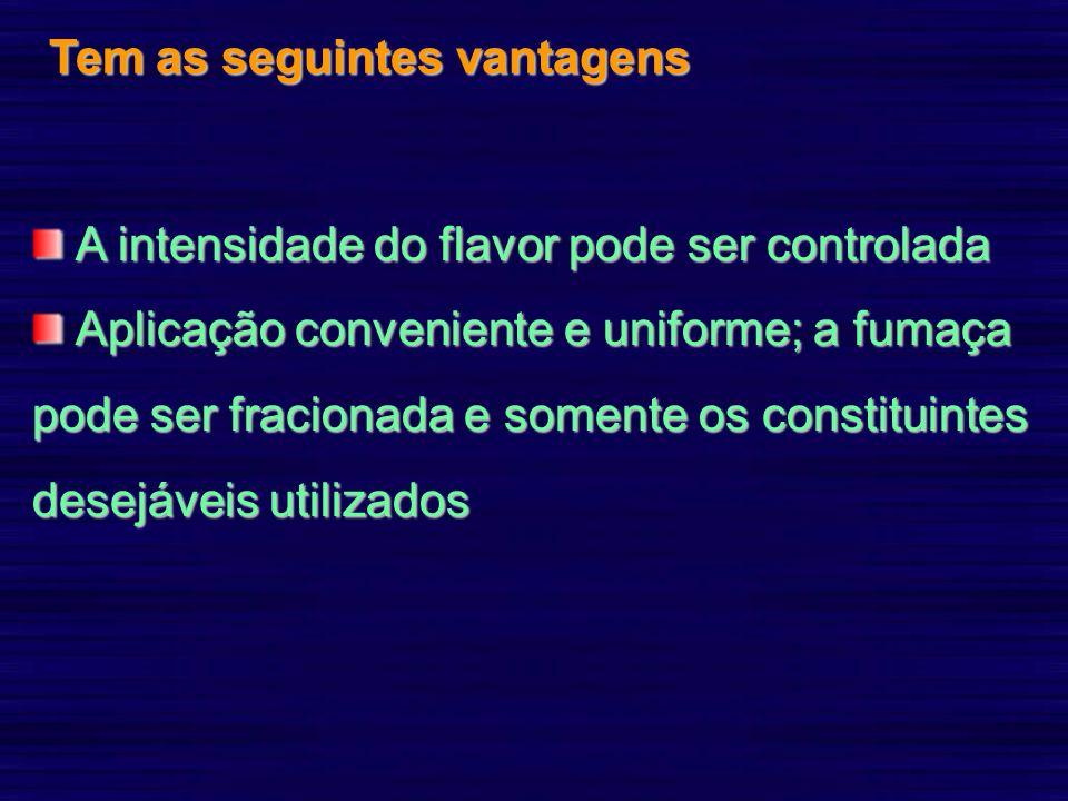 Tem as seguintes vantagens A intensidade do flavor pode ser controlada A intensidade do flavor pode ser controlada Aplicação conveniente e uniforme; a