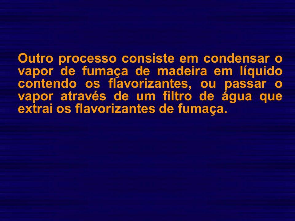 Outro processo consiste em condensar o vapor de fumaça de madeira em líquido contendo os flavorizantes, ou passar o vapor através de um filtro de água