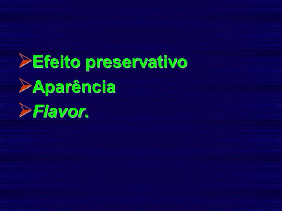 Efeito preservativo Efeito preservativo Aparência Aparência Flavor. Flavor.