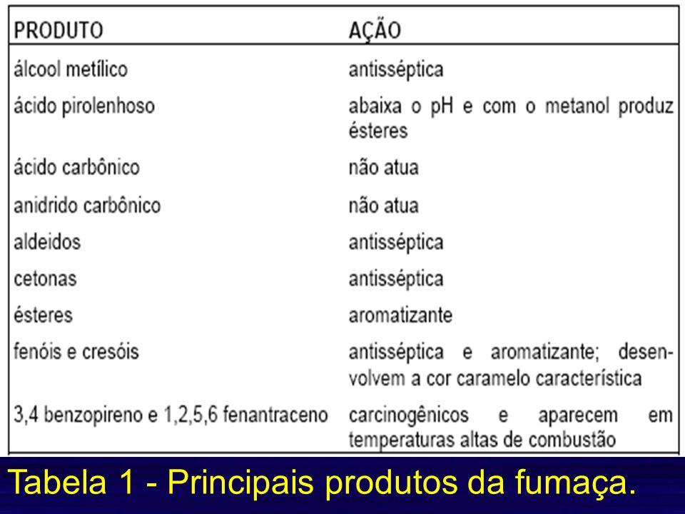 Tabela 1 - Principais produtos da fumaça.