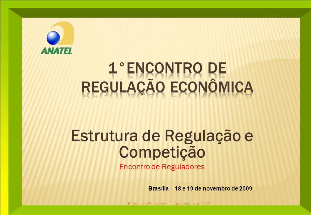 Brasília – 18 e 19 de novembro de 2009 Estrutura de Regulação e Competição Encontro de Reguladores Regulação Econômica - Agências - nov.2009