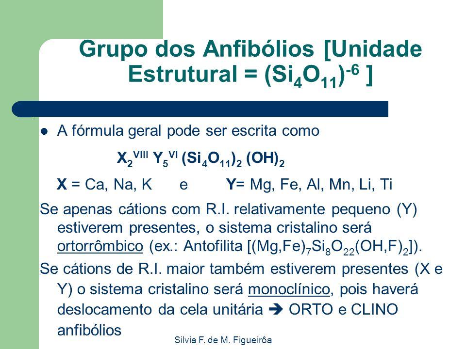 Silvia F. de M. Figueirôa Grupo dos Anfibólios [Unidade Estrutural = (Si 4 O 11 ) -6 ] A fórmula geral pode ser escrita como X 2 VIII Y 5 VI (Si 4 O 1