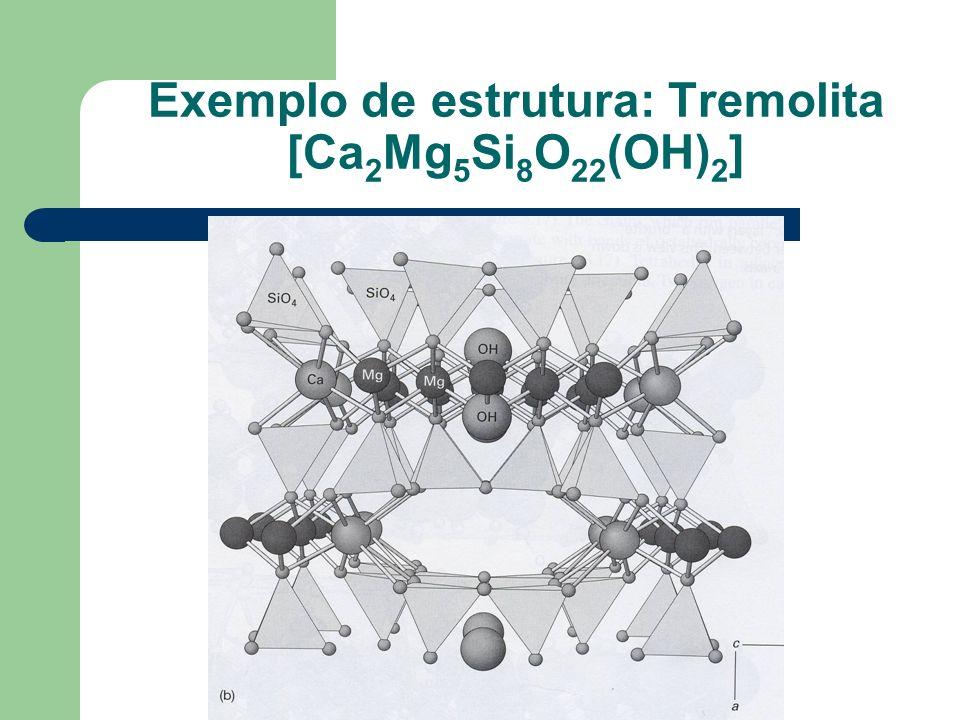 Silvia F. de M. Figueirôa Exemplo de estrutura: Tremolita [Ca 2 Mg 5 Si 8 O 22 (OH) 2 ]