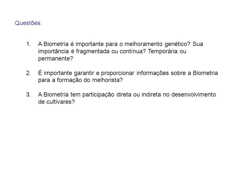 Questões: 1.A Biometria é importante para o melhoramento genético? Sua importância é fragmentada ou contínua? Temporária ou permanente? 2.É importante