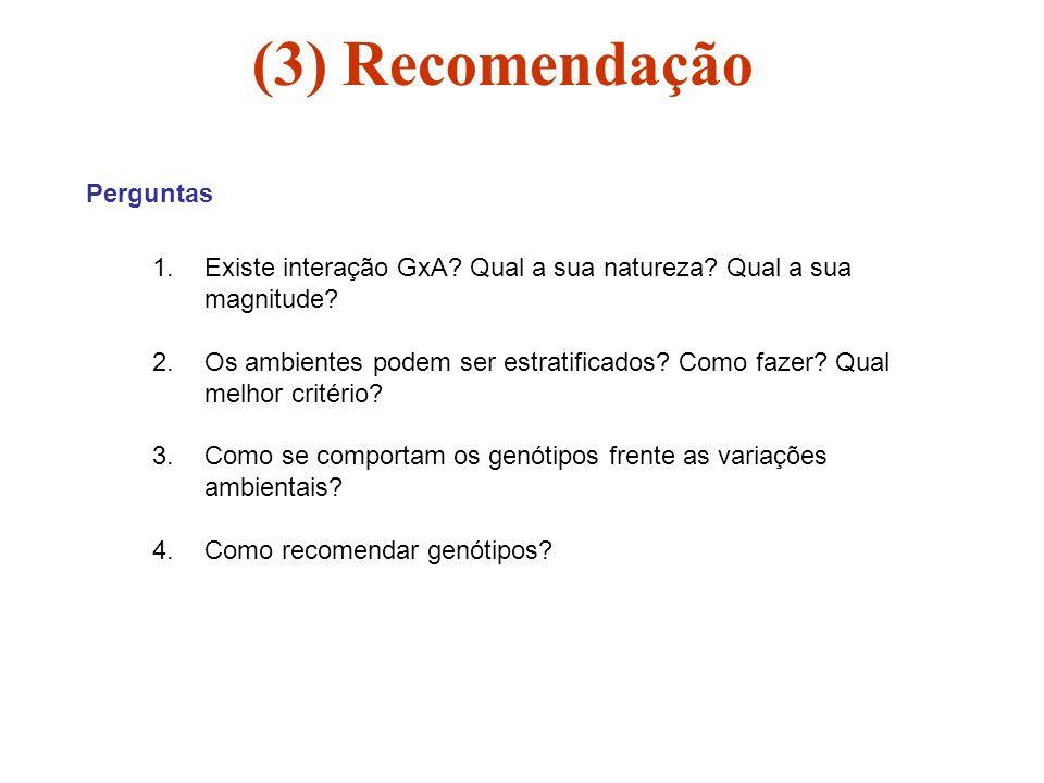 (3) Recomendação Perguntas 1.Existe interação GxA? Qual a sua natureza? Qual a sua magnitude? 2.Os ambientes podem ser estratificados? Como fazer? Qua