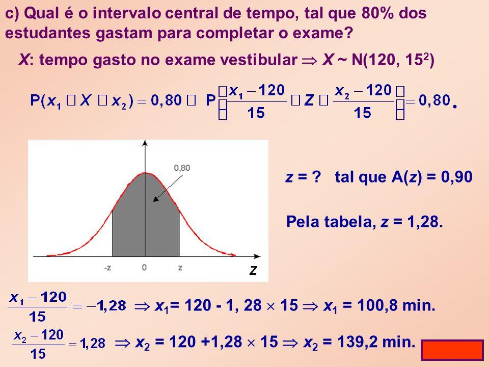 c) Qual é o intervalo central de tempo, tal que 80% dos estudantes gastam para completar o exame.