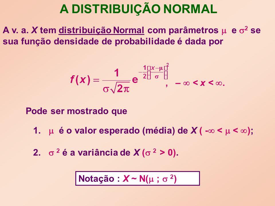 A DISTRIBUIÇÃO NORMAL, – < x <. Pode ser mostrado que 1.