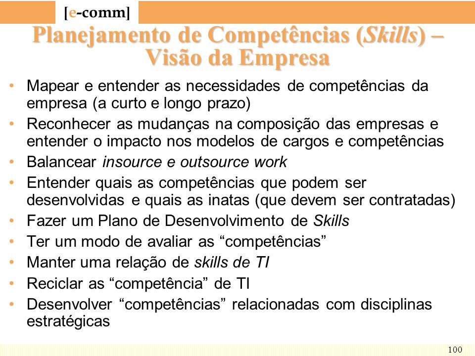 [ e-comm ] 100 Planejamento de Competências (Skills) – Visão da Empresa Mapear e entender as necessidades de competências da empresa (a curto e longo