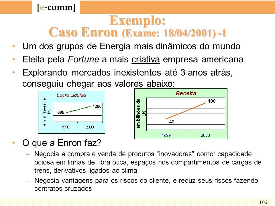 [ e-comm ] 102 Exemplo: Caso Enron (Exame: 18/04/2001) -1 Um dos grupos de Energia mais dinâmicos do mundo Eleita pela Fortune a mais criativa empresa