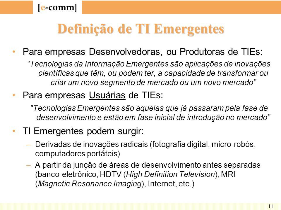 [ e-comm ] 11 Definição de TI Emergentes Para empresas Desenvolvedoras, ou Produtoras de TIEs: Tecnologias da Informação Emergentes são aplicações de