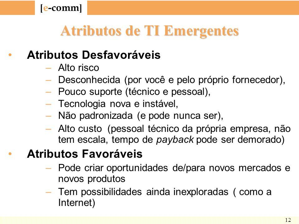 [ e-comm ] 12 Atributos de TI Emergentes Atributos Desfavoráveis –Alto risco –Desconhecida (por você e pelo próprio fornecedor), –Pouco suporte (técni