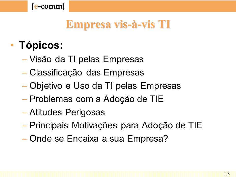 [ e-comm ] 16 Empresa vis-à-vis TI Tópicos: –Visão da TI pelas Empresas –Classificação das Empresas –Objetivo e Uso da TI pelas Empresas –Problemas co