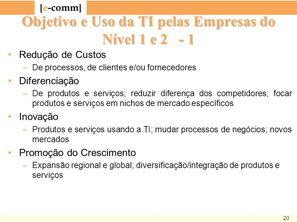 [ e-comm ] 20 Objetivo e Uso da TI pelas Empresas do Nível 1 e 2 - 1 Redução de Custos –De processos, de clientes e/ou fornecedores Diferenciação –De