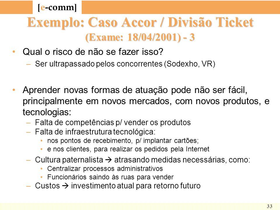 [ e-comm ] 33 Exemplo: Caso Accor / Divisão Ticket (Exame: 18/04/2001) - 3 Qual o risco de não se fazer isso? –Ser ultrapassado pelos concorrentes (So