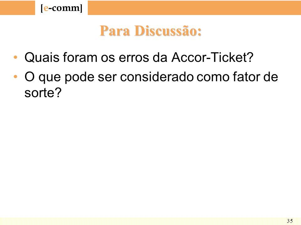[ e-comm ] 35 Para Discussão: Quais foram os erros da Accor-Ticket? O que pode ser considerado como fator de sorte?