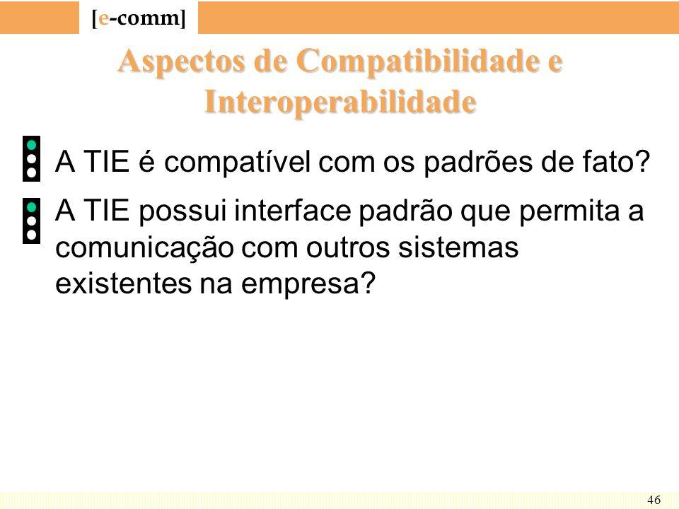 [ e-comm ] 46 Aspectos de Compatibilidade e Interoperabilidade A TIE é compatível com os padrões de fato? A TIE possui interface padrão que permita a