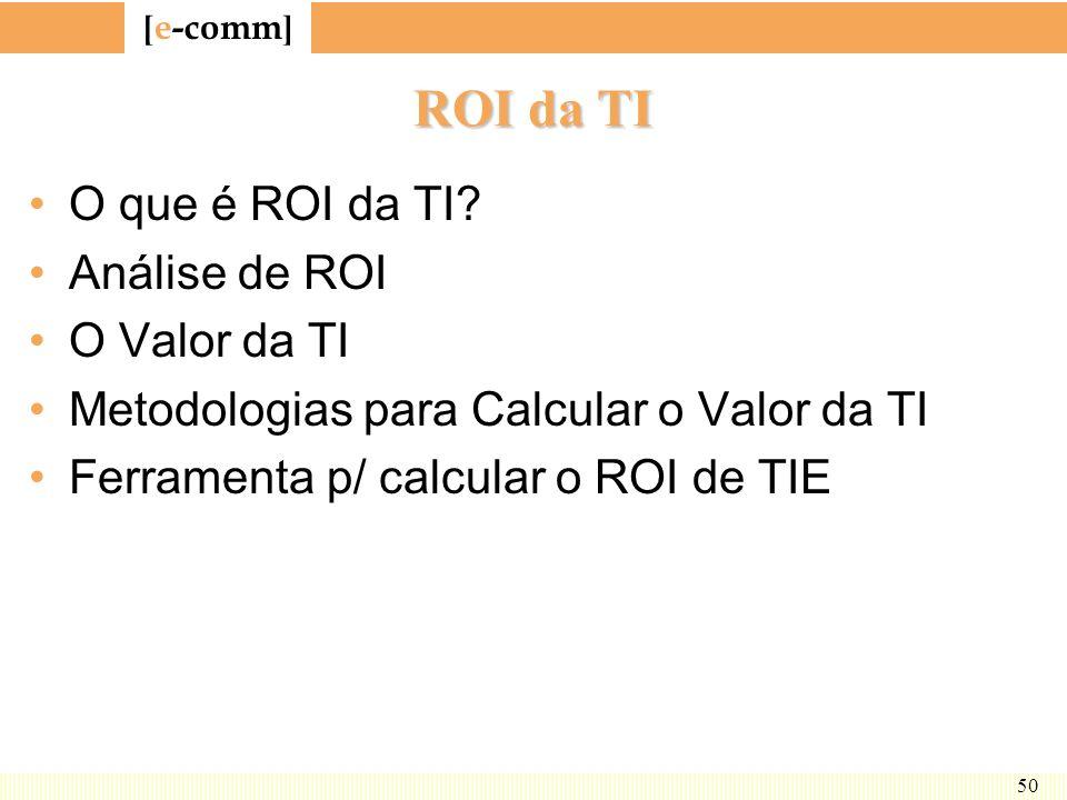 [ e-comm ] 50 ROI da TI O que é ROI da TI? Análise de ROI O Valor da TI Metodologias para Calcular o Valor da TI Ferramenta p/ calcular o ROI de TIE