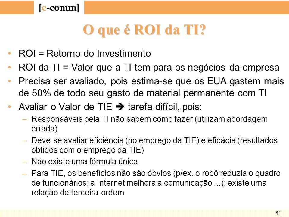 [ e-comm ] 51 O que é ROI da TI? ROI = Retorno do Investimento ROI da TI = Valor que a TI tem para os negócios da empresa Precisa ser avaliado, pois e